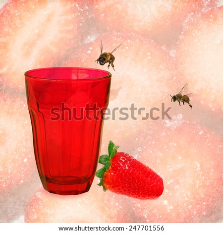 Red glass, honey bees and only ripe strawberry on strawberry sliced by sugar background - stock photo