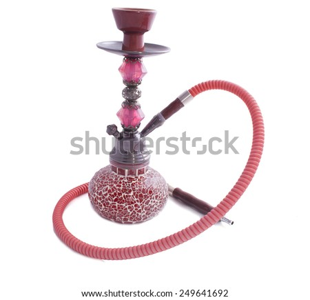 red glass hookah isolated on a white background - stock photo