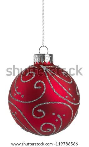 Red Glitter Christmas Ball - stock photo