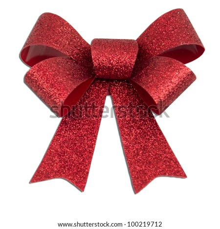 Red glitter Christmas present bow - stock photo