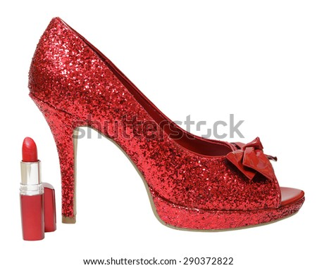 Red glitter high heels and lipstick - stock photo