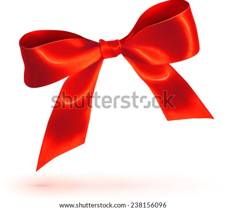 Red glossy bow isolated on white background - stock photo