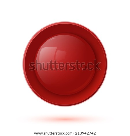 Red glossy button icon isolated on white background
