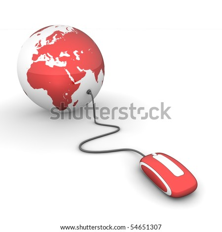 red glossy computer mouse connected to a red glossy globe - stock photo