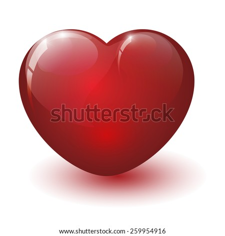 Red glossy heart on white background isolated - stock photo