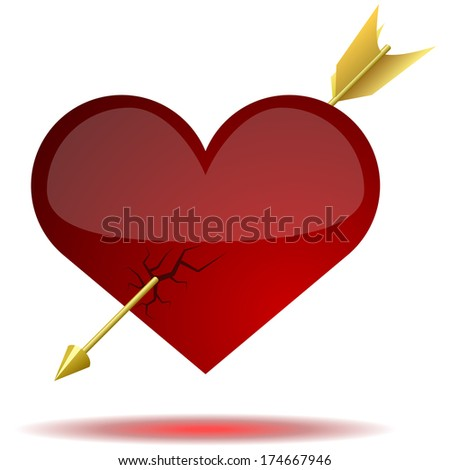 Red glossy heart pierced with arrow isolated on white background.  - stock photo