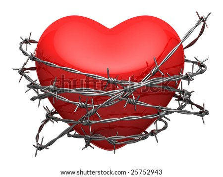 Red glossy heart surrounded by barbed wire - stock photo