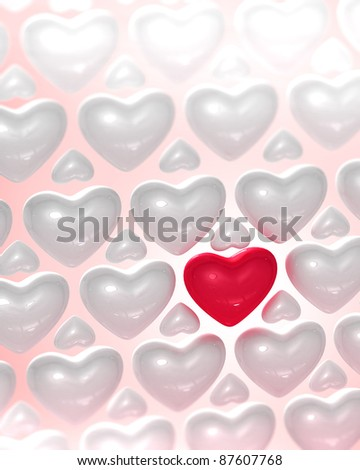 Red glossy heart surrounded by bright glossy hearts