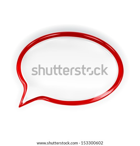 Red glossy speech bubble with glare and shadow. Raster version. - stock photo