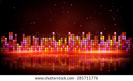 red glowing equalizer and reflection. Computer generated party background