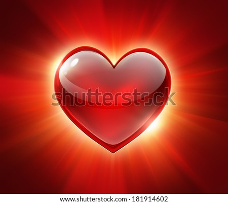 red glowing heart on a red background - stock photo