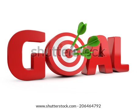 red goal text and dart hitting a target isolated white background