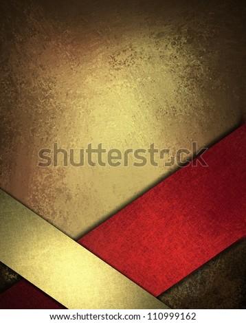 red gold background design layout or abstract Christmas background card decoration, formal elegant ribbon corner on vintage grunge background texture and black vignette border frame, web template - stock photo