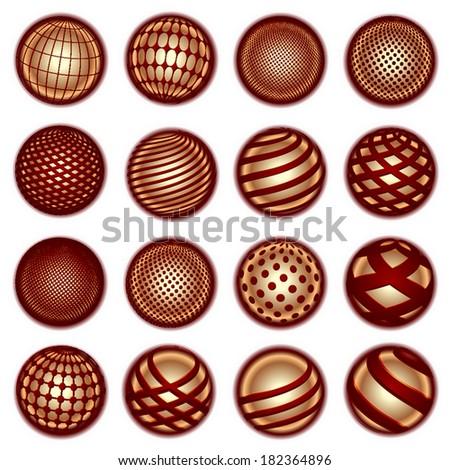Red golden planet symbols - stock photo