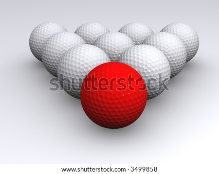 red golf ball - stock photo