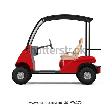 Red Golf Cart - stock photo