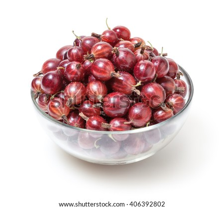 Red gooseberries isolated on white background with clipping path - stock photo
