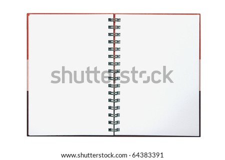 Red gradient note book on white