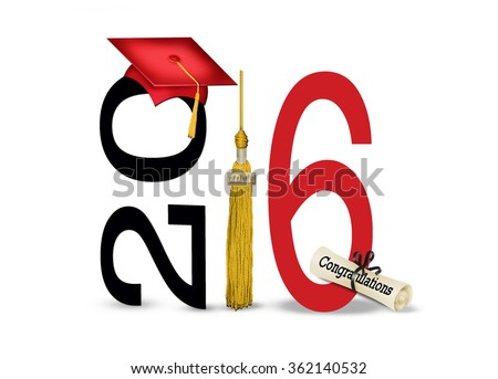 red graduation cap for 2016 with gold tassel and diploma isolated on white