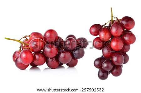 red grape isolated on white background. - stock photo