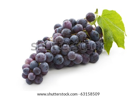 Red grape with green leaf, isolated on white background - stock photo