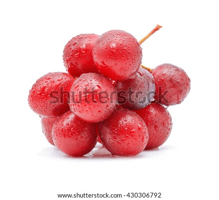 red grapes and water drops isolated on white background - stock photo