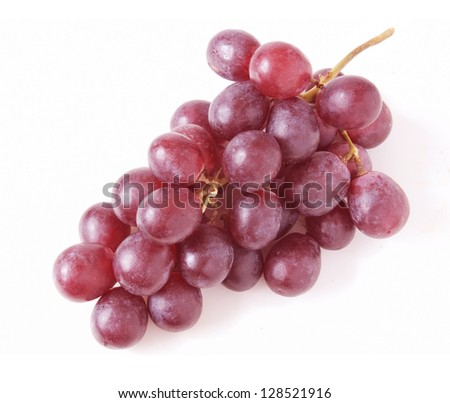 Red grapes branch isolated on white background - stock photo