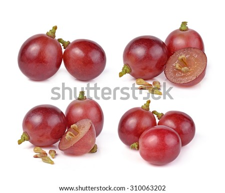 red grapes isolated on white background - stock photo