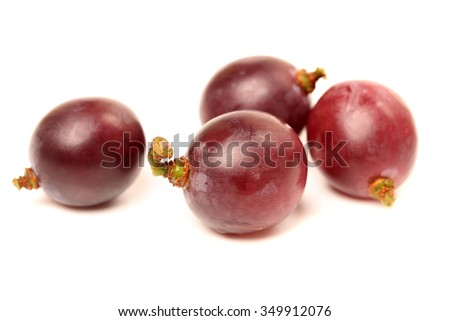 red grapes on a white background. close-up - stock photo