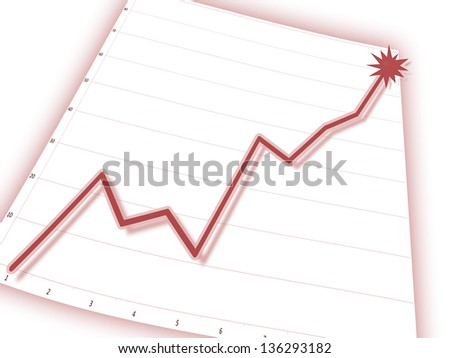 Red graph on business chart (upward) - stock photo
