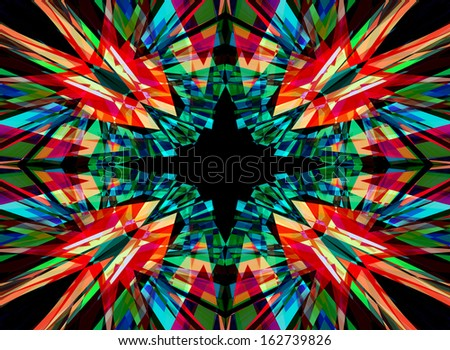 Red, green and black kaleidoscope background - stock photo