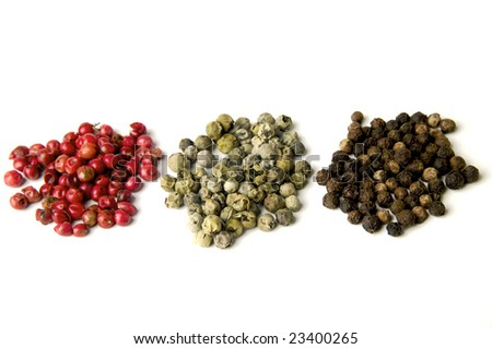 Red, green and Black peppers isolated on  white - stock photo