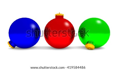 Red Green and blue Christmas Baubles