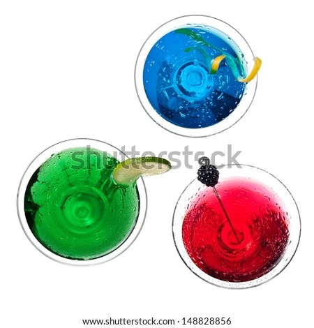 Red, green and blue cocktails, top view - stock photo
