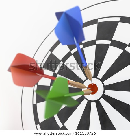 Red, green and blue darts sticking in dart board, 3d rendering on white background