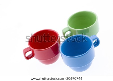 Red Green and Blue Espresso Mugs - stock photo