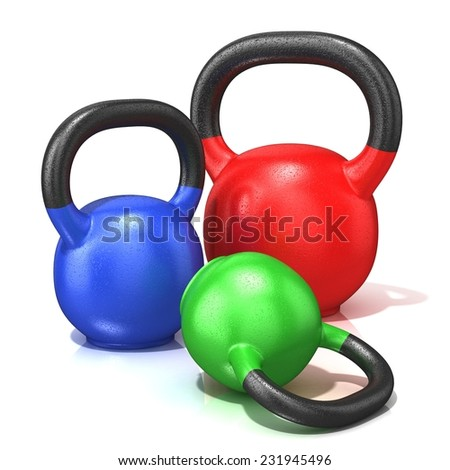 Red, green and blue kettle bells weights isolated on a white background. 3D render illustration.  - stock photo