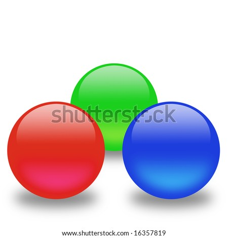 Red, green and blue spheres - stock photo