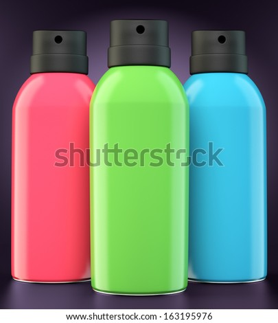 Red, green and blue spray cans on dark background. 3d illustration - stock photo