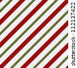 Red, Green and White Striped Fabric Background that is seamless and repeats - stock photo