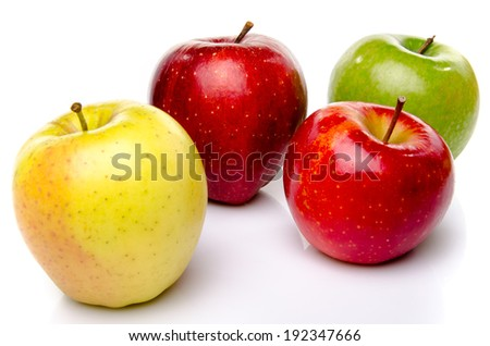 Red, green and yellow apples, isolated on white - stock photo
