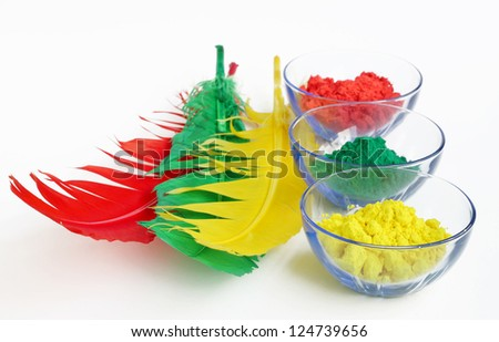 red, green and yellow gulal - stock photo