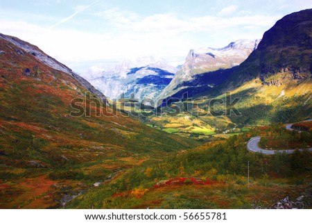 Red , Green and Yellow mountains taken in Norway, September - stock photo