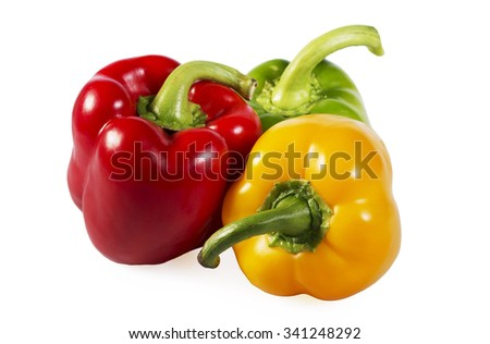 Red, green and yellow paprika isolated on white background - stock photo