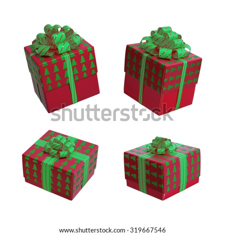 red green Christmas gift boxes isolated on white background 3d illustration - stock photo