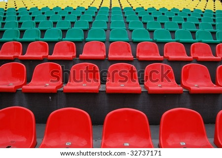 red, green, yellow stadium seats