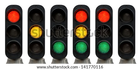 Red, Green, Yellow Traffic lights isolated over white background - stock photo