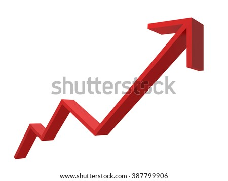 Red Growing Interest Rate Business Graph - stock photo