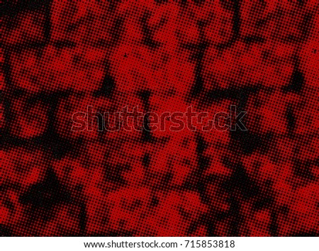 Red Grunge Background Abstract Texture And Black Halftone Vintage Ink