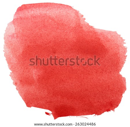 red grunge brush strokes watercolor paint isolated on white background - stock photo